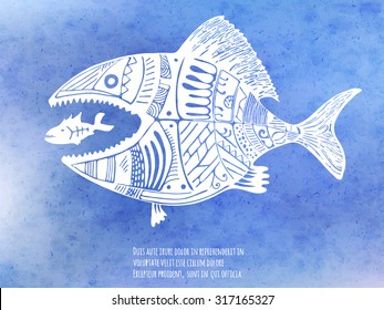 Big fish eat little fish. Hand drawn vector illustration on the blue watercolor texture