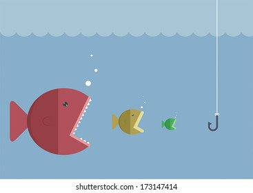 Big fish eat little fish, VECTOR, EPS10