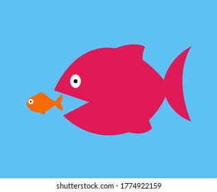big fish eat little fish vector illustration