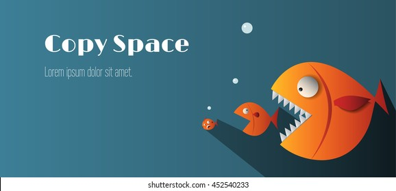Big fish eat small fish and copy copy space