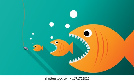 Big fish eat small fish. Feeding cycle. Business concept. Vector illustration flat design.