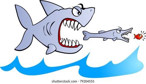 Big fish eat small fish, vector