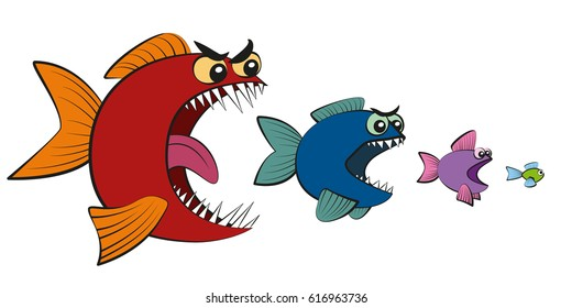 Big fish eating little fish - symbol for hierarchy, business takeover, absorption, usurpation, seizing power or food chain. Isolated vector comic illustration on white background.