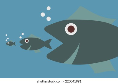 big fish eating little fish, vector concept