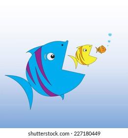 Big fish eats little fish. Vector illustration.