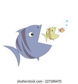 Big fish eats little fish. Vector.