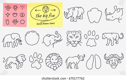 The Big Five Hand Drawn Icons Full Vector African Wildlife Illustrations With Editable Strokes