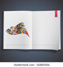Big flag printed on white book. Vector design.