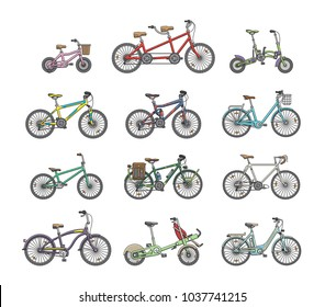 Big flat graphic design set of different bicycles.