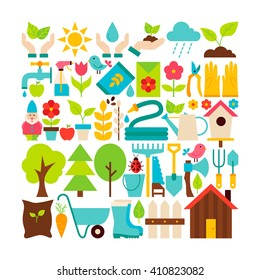Big Flat Vector Collection of Spring Garden Objects. Set of Seasonal Plants and Flowers Colorful Items. Gardening Tools.