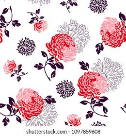 Big Flower pattern chrysanthemum flowers and small flowers for textile pattern, fashion print