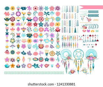 Big flower set. Templates for greeting cards and scrapbooking. Vector collection with spring and summer elements: flowers, wreaths, branches, frames, butterflies, pattern brushes.