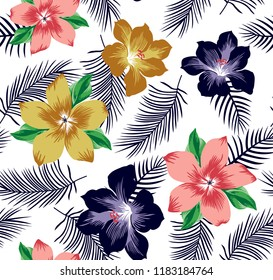 Big Flowers pattern with leaves for textile pattern,fashion print,fabric print,decorative flowers