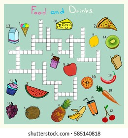 Big food and drink crossword, words game for children. Complete the puzzle. Educational worksheet for kids.