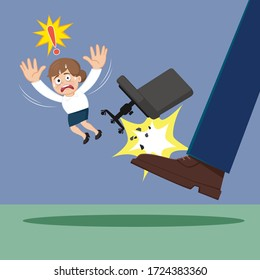 Big foot kicked businesswoman in a chair, illustration vector cartoon