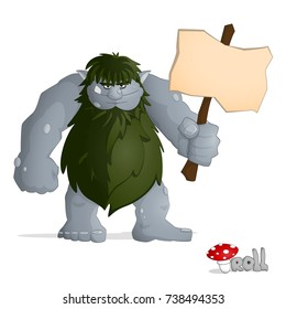 Big forest troll of gray from norvegian folklore dressed in leaves standing and holding a banner. Drawn in cartoon style