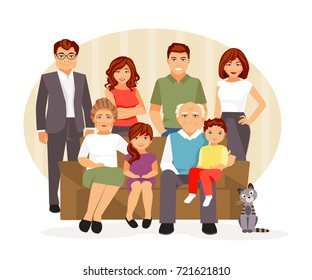 Big and friendly family on the couch. Vector illustration