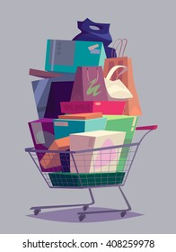 Big full shopping cart. Vector illustration.