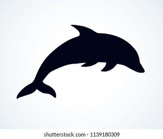 Big fun cheerful cetacean breach on light backdrop. Dark ink hand drawn funny pet pictogram logotype emblem in art retro etching contour print style on paper space for text. Side view