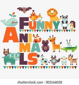 Big funny animal set in bright colors made of wild and domestic animals. Modern vector flat style. Ideal for cards, logo, labels and children room decoration