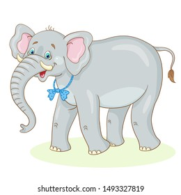Big funny gray elephant with a bow-tie . In cartoon style. Isolated on white background.