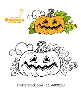 Big funny lantern from pumpkin with the cut out of grin and leaves color and outlined for coloring page