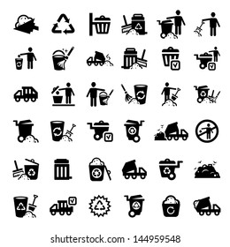 Big Garbage And Cleaning Icons Set Created For Mobile, Web And Applications.