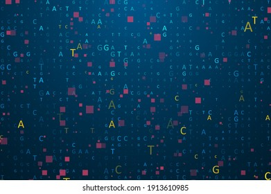 """Big genomic data visualization. Digital AGCT """"code"""". Four bases of DNA pairing. Graphic concept for your design"""