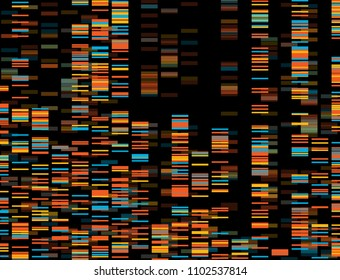 Big Genomic Data Visualization - DNA Test, Barcoding,  Genome Map Architecture  - Vector Graphic Template