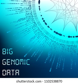 Big Genomic Data Visualization - DNA Test, Barcoding,  Genom Map Architecture  - Vector Graphic Template