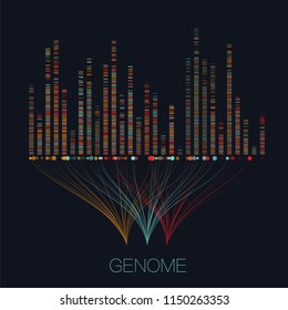 Big genomic data visualization. DNA test, genom map. Graphic concept for your design