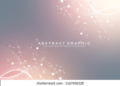 Big Genomic Data Visualization. DNA helix, DNA strand, DNA Test. Molecule or atom, neurons. Abstract structure for Science or medical background, banner