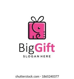 Big gift logo elephant box logo icon template Vector. Birthday Gift Logo Design Illustration