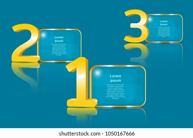 Big golden 3D numbers and transparent panels for the text. Vector illustration EPS10