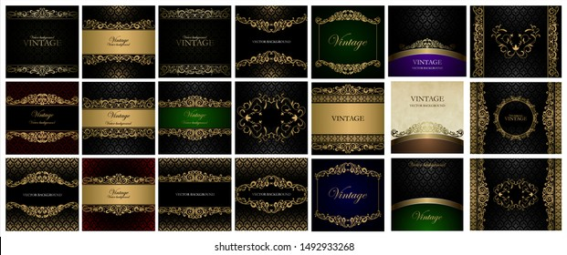 Big golden collection Vintage vector background