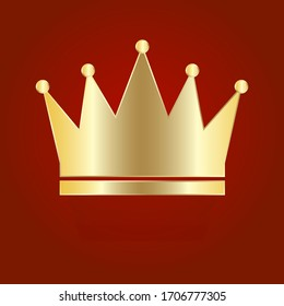 Big golden crown on a red background. Vector illustration. Stock drawing.