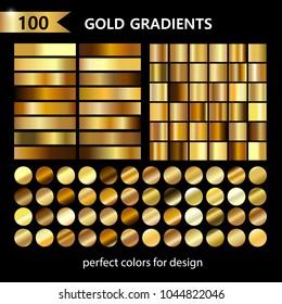 Big golden metal pack. Collection of gold gradients for vector design. Gradient set vector illustration.