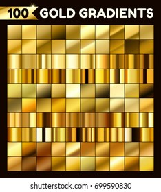 Big golden metal pack. Collection of gold gradients for design. Vector gradient set.
