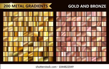 Big golden and rose metal pack. Collection of gold and bronze gradient for design.  Vector gradients set. Very big metal pack.