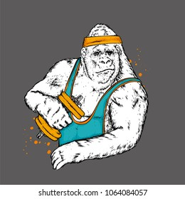 Big gorilla in sports clothes. Monkey with dumbbells. Vector illustration. Hipster.