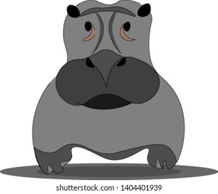 A big gray hippopotamus, looking straight, with black nose and mouth, vector, color drawing or illustration.
