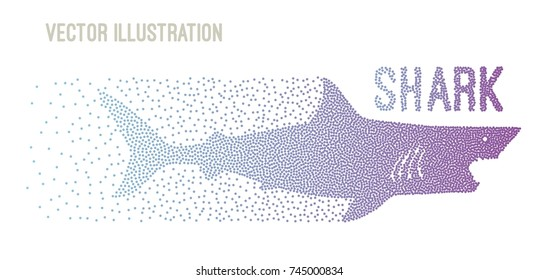 Big gray shark with open jaws. A shark consisting of small dots. Design for a banner, poster, billboard. Element of advertising. A swiftly swimming shark is a side view. Vector illustration