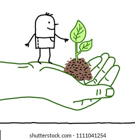 Big Green Hand with Cartoon Character - Protection