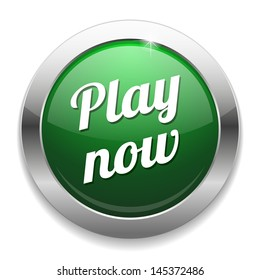Big green metallic play now  button