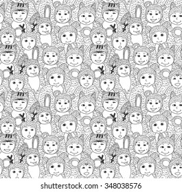 Big group children carnival costume animals seamless pattern. Big group of happy baby. Black and white vector illustration. EPS8