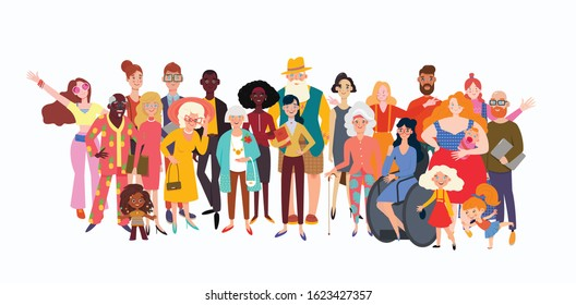 Big group of diverse people joined with happiness. Selection of old, coloured, disabled and different persons. Social diversity, relationship, human resorces, large family group.