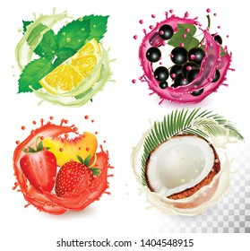 Big group of fruit in juice splash icons. Mint and citron, coconut, peach and strawberry, blackberry. Vector Set