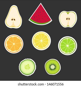 Big group of fruits vector icons set.