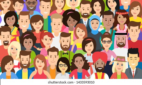big group of  international multicultural people colorful pattern