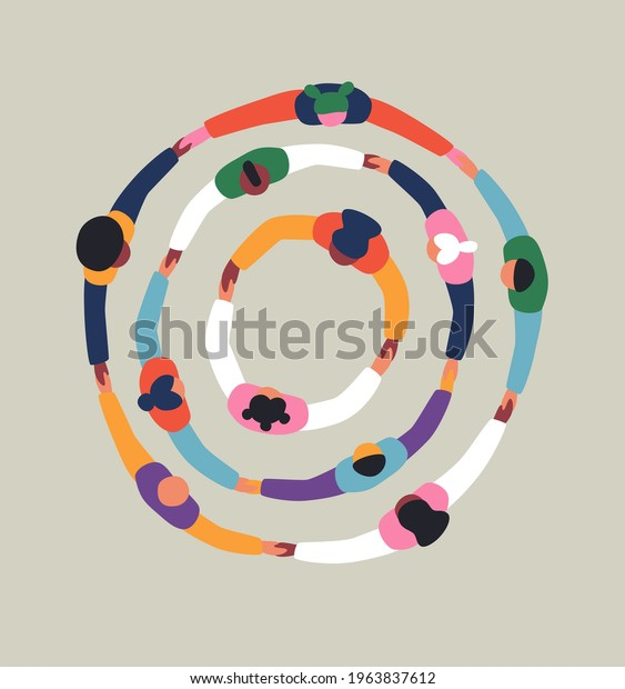 Big group of people holding hands together making round circle shape. Colorful diverse friend team concept, united community or social cooperation cartoon on isolated background.